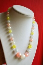 Vintage multicolor pastel moonglow bead necklace pink blue yellow hidden... - $24.74