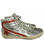 GOLDEN GOOSE Slide Archive Metallic Leather Sneakers Sz 42 High Top Skat... - $289.00