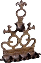 Judaica Oil Menorah Hanukkah Vintage Wall Hang Bronze North Africa Hanukkiah