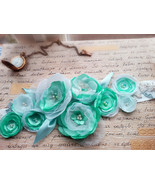 Aqua blue maternity belt Sash Wedding belt Floral Flower Photo prop Baby... - $44.40
