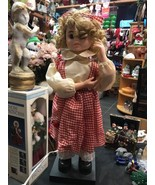 Collectible Doll Girl With Curls Electrical Plug Moves Head and Arms Figure - $120.18