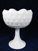 Indiana Glass Candy Compote Fruit Dish Bowl/Planter Quilted Diamond Whit... - $29.44