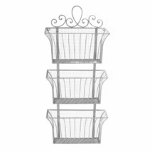 Triple File Holder Wall Mounted File Magazine Rack Antique White Scroll ... - $59.50