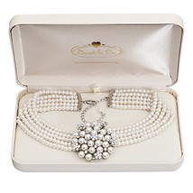 Audrey Hepburn Glass Pearl Necklace Cream with Gift Box - $84.16