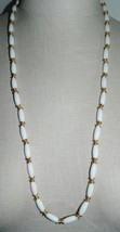 "Vtg Crown Trifari White Lucite Plastic Gold Coil Beaded Necklace 30"" - $29.70"