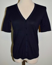 New Talbots Lightweight Sweater Blue Button Front Cardigan Top Petite Sm... - $21.49