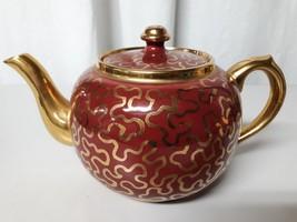 SUDLOW'S BURSLEM ENGLAND OXBLOOD RED POTTERY TEAPOT - GOLD DECOR - $15.18