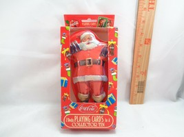 Coca Cola Playing Cards CHRISTMAS Santa Shaped Tin 2 UNOPENED DECKS INSIDE - $10.24