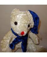 """Teddy Bear Cream Plush Stuffed Animal 7"""" Toy Blue Hat Scarf - $9.99"""