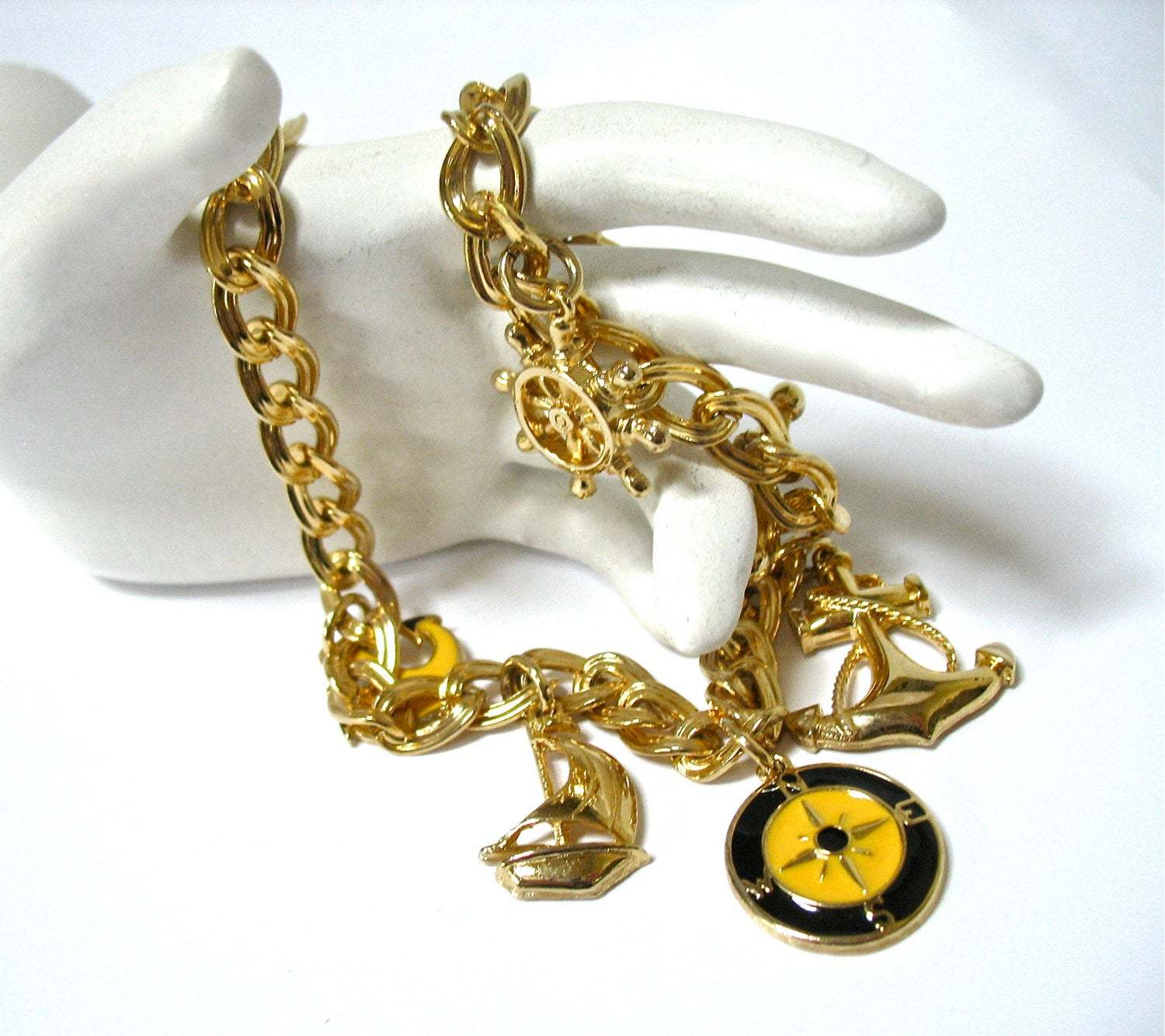Charm Necklace, Nautical Charms, Signed Germany, 1980's, Sailboat, Anchor, Boati