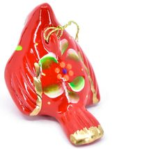 Handcrafted Painted Ceramic Red Cardinal Confetti Ornament Made in Peru image 4