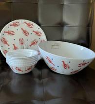Tommy Bahama Melamine Lobster 6 Dinner Plates & 6 Bowls & Serving Bowl - $72.39