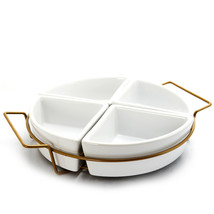 Gibson Elite Gracious Dining 4 Section Round Ceramic Tidbit Dish Set wit... - $55.90