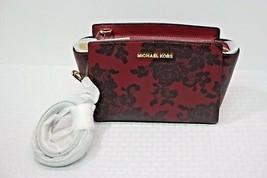 NWT MICHAEL Michael Kors Red Selma Medium Lace Print Leather Messenger C... - $198.00