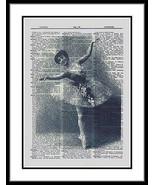 Ballet Dancer Graceful Flowers Dictionary Print  ladies017 - $10.99