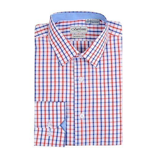 Berlioni Italy Boys Kids Toddlers Checkered Plaid Dress Shirt (Red, 4)
