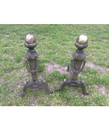 Vintage Fireplace Andirons Tools Cast Iron Brass Made in Japan Pineapple - $75.00