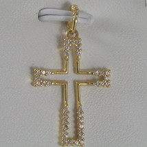 SOLID 18K YELLOW GOLD CROSS, STYLISED WITH ZIRCONIA 1.18, MADE IN ITALY - $195.00