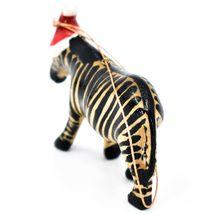 Hand Carved & Painted Jacaranda Wood Santa Hat Zebra Safari Christmas Ornament image 3