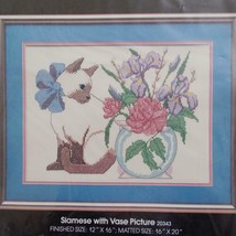 Golden Bee Cross Stitch Kit Siamese Cat With Vase 20343 Sealed 1987 - $19.79
