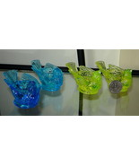 Lot (4) KANAWHA Glass Bird Candle Holders Egg Cups Salt Cellars, Blue & ... - $19.50