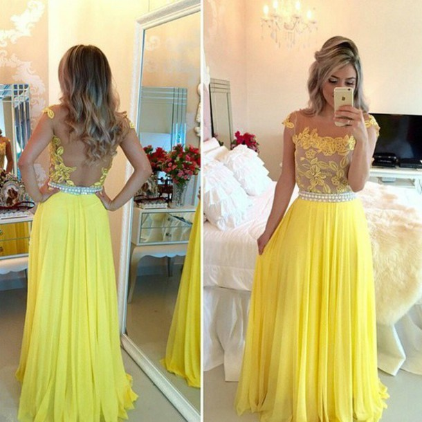yellow lace long prom dress cap sleeve a-line chiffon long evening dress,HH047