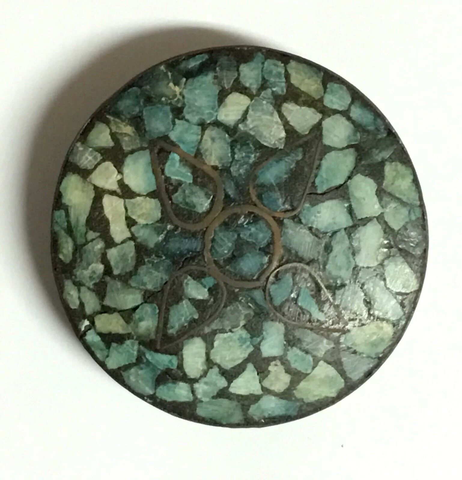 Vintage East Indian Turquoise Inlay Pendant in a Matrix Brass Design made 1940's