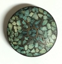 Vintage East Indian Turquoise Inlay Pendant in a Matrix Brass Design mad... - $32.50
