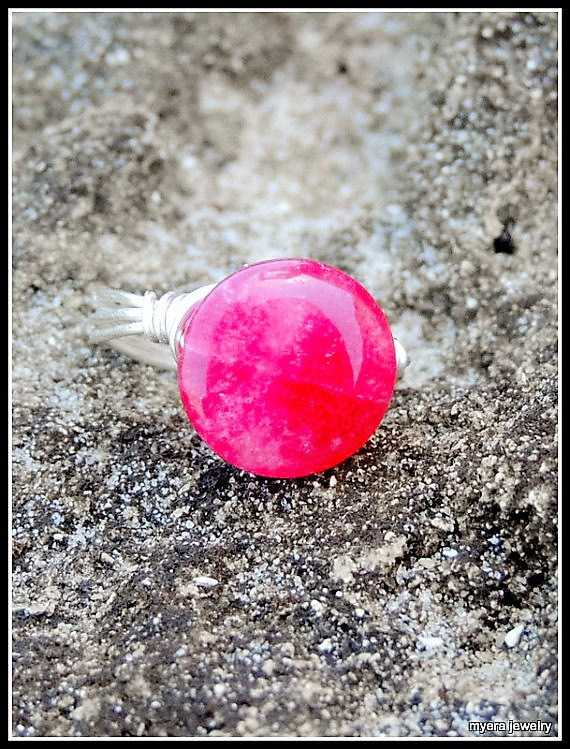 Rose Quartz Ring, Pink Stone Ring, Wirewrap Ring, Colorful Bead Ring, Colors Wir image 3