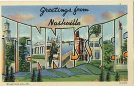 Greetings from Nashville TN Tennessee Spellout Unposted Linen Postcard  - $7.87
