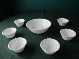 Indiana  Milkglass Weavetex Berry/Dessert Bowls. - $29.69
