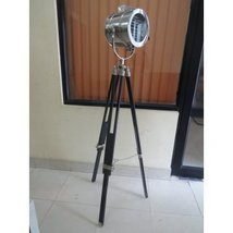 Vintage Industry Style Searchlight With Wooden Tripod Floor Lamp By Naut... - $179.42