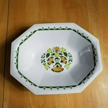 Johnson Brothers Greenfield Oval Serving Bowl White Green Birds Flowers Mosaic - $6.88
