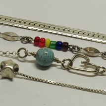 4 Piece Lot Vintage 925 Sterling Silver Chain Link Anklets Star Heart 17... - $32.62