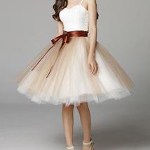 Navy White Midi Tulle Skirt 6-layered Party Tulle Skirt image 2