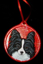 Black and White Papillon Dog Christmas Ornament Decoration Hand Painted ... - $30.00