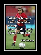 Mia Hamm Inspirational Soccer Motivation Quote Poster Daughter Wall Art ... - $19.99+