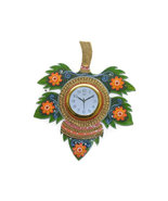Handmade Hand painted Wooden Wall hanging Clock 5 leaf - $72.99