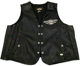 Harley-Davidson Men's Black Leather Biker Vest XXL Authentic Made In USA - $140.12
