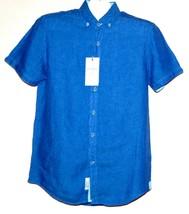 Heritage  Pure Luxury Linen Short Sleeve Men's Blue Shirt Sz M Classic Fit  - $32.64