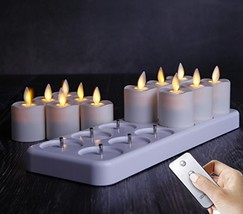 Set of 12 LED Night Rechargeable Flameless Tea Light Candle with Diffuse... - $153.23