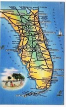 Florida Postcard State Road Map of Florida Tichnor Bros - $2.07