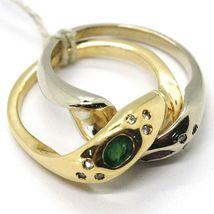 18K YELLOW WHITE GOLD BAND DOUBLE RING, BRAIDED SNAKE, DIAMONDS, RUBY & EMERALD image 4