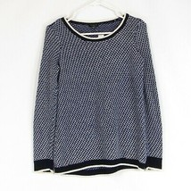 Dark blue white textured 100% cotton TALBOTS crewneck sweater PS - $19.99