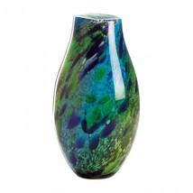 Peacock Inspired Art Glass Vase - $88.57
