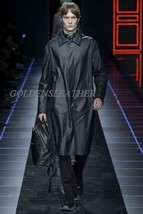 Winter Men Leather Coat Tailor Made Real Genuine Leather Trench Coat -06 - $237.50