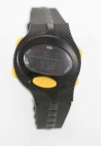 Fossil Watch Men FSL Yellow Timer Alarm Chrono 100m Black Rubber Battery Quartz - £18.08 GBP