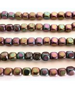 50  4 x 4 mm Czech Glass Cube Beads: Iris - Purple - $1.41