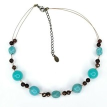 Cookie Lee Mixed Metal Copper Wire Silver Gold Tone Acrylic Turquoise Ne... - $12.60
