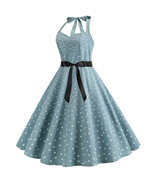 Halter backless polka dot printed Women's retro A-line pendulum Dresses ... - £25.84 GBP